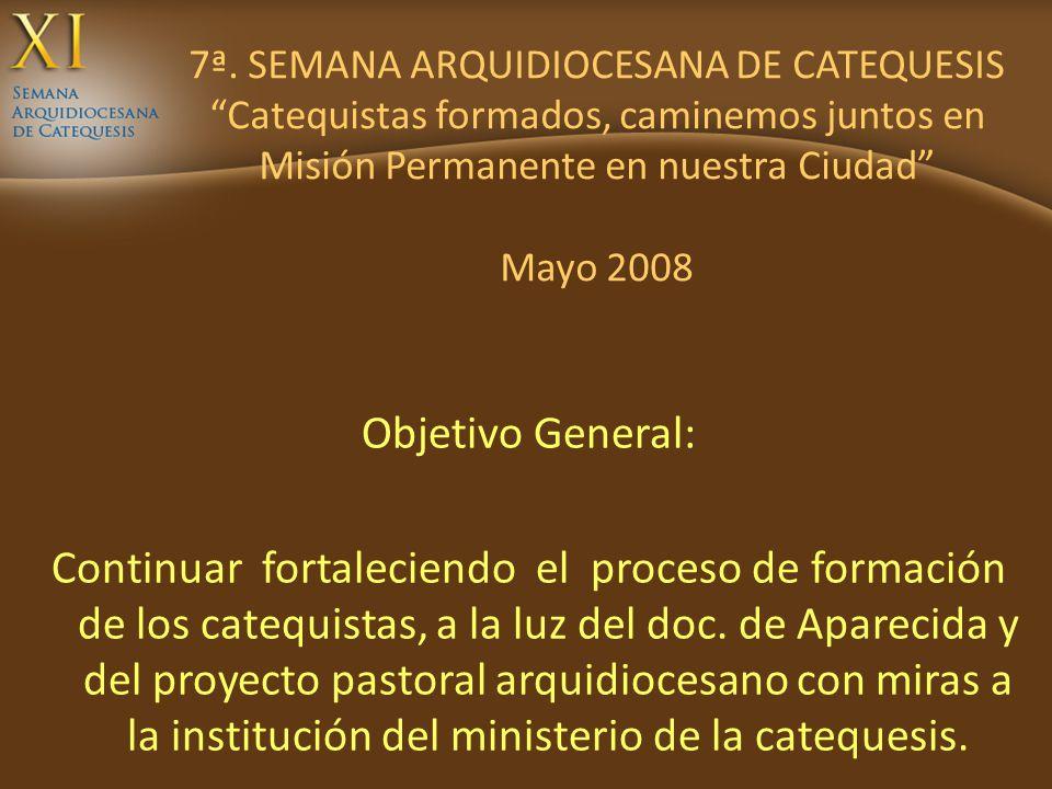 7ª. SEMANA ARQUIDIOCESANA DE CATEQUESIS Catequistas formados, caminemos juntos en Misión Permanente en nuestra Ciudad Mayo 2008