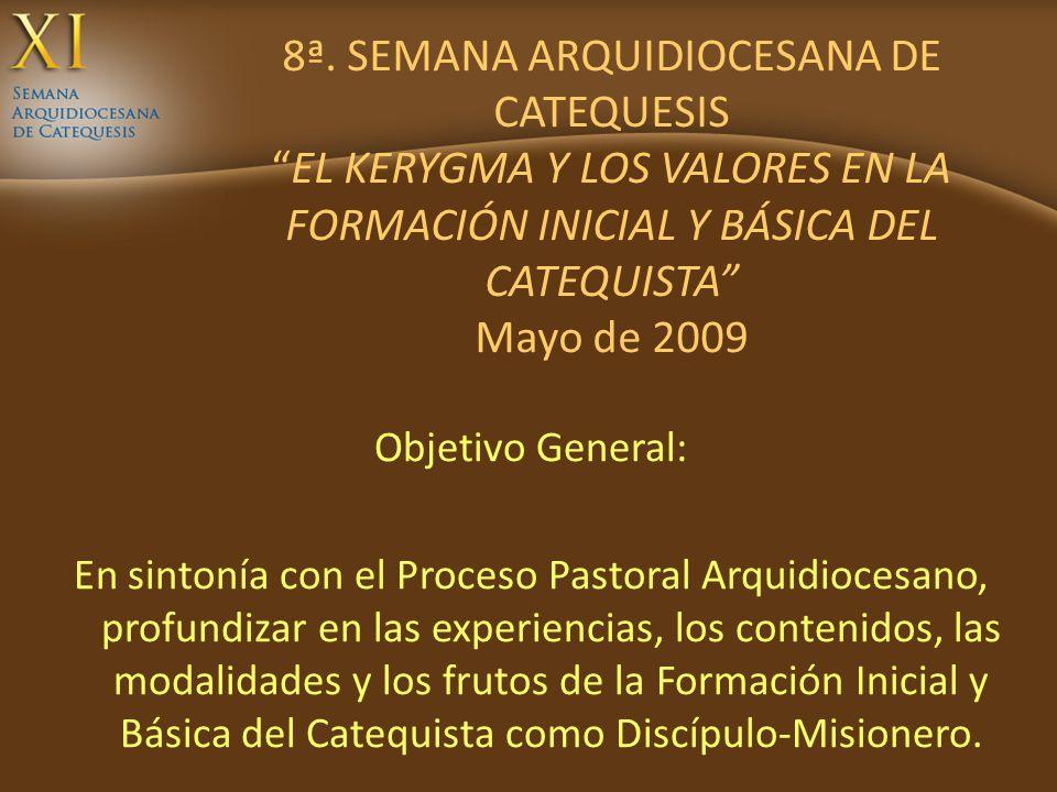 8ª. SEMANA ARQUIDIOCESANA DE CATEQUESIS EL KERYGMA Y LOS VALORES EN LA FORMACIÓN INICIAL Y BÁSICA DEL CATEQUISTA Mayo de 2009