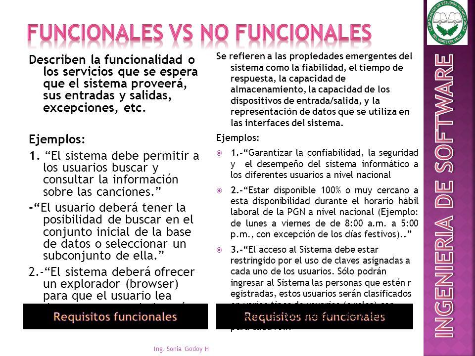 FUNCIONALES VS NO FUNCIONALES
