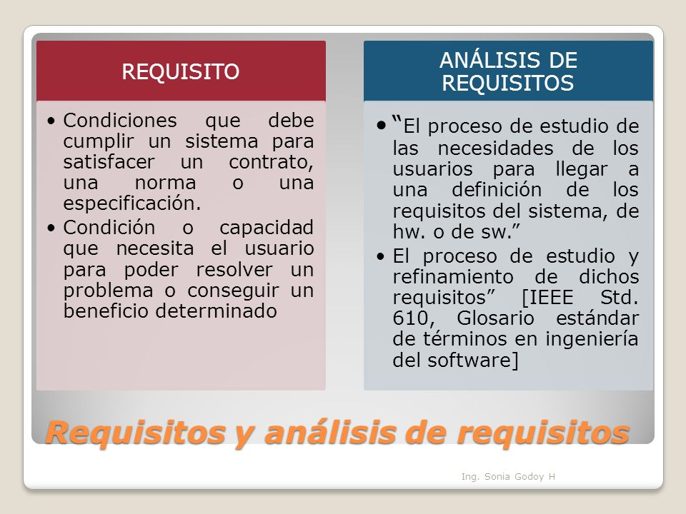 Requisitos y análisis de requisitos