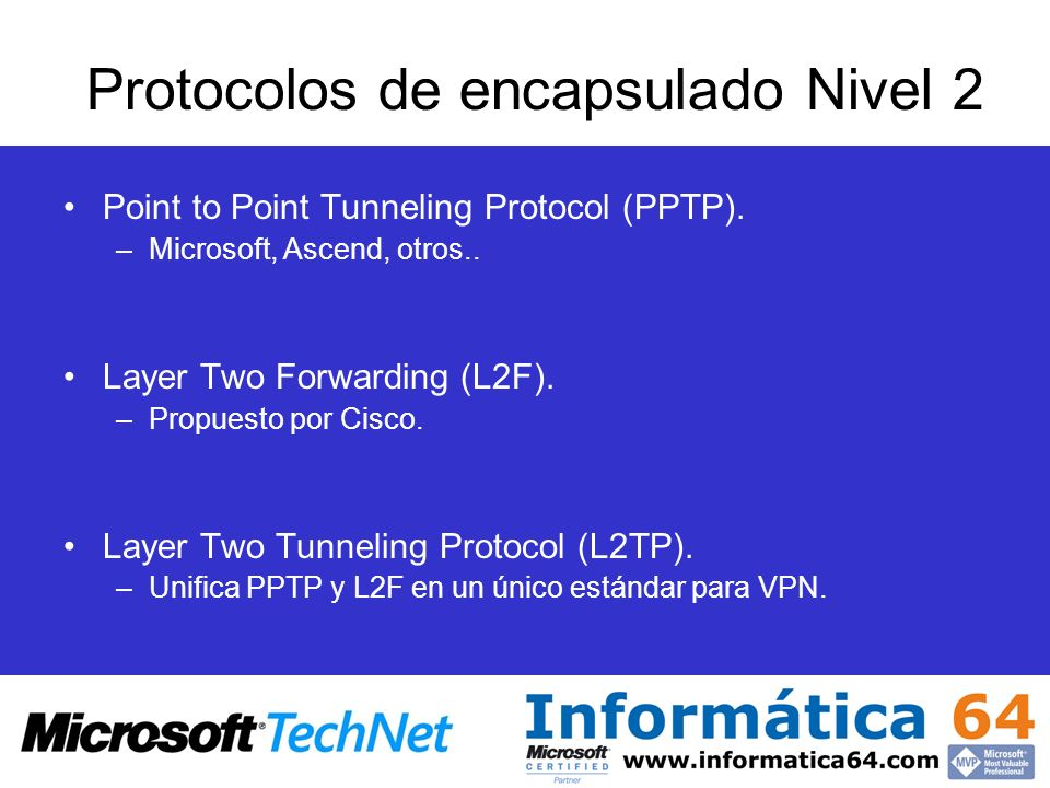 Protocolos de encapsulado Nivel 2