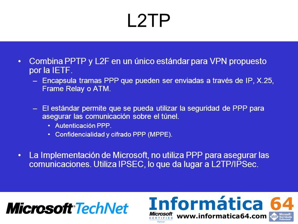 L2TPCombina PPTP y L2F en un único estándar para VPN propuesto por la IETF.