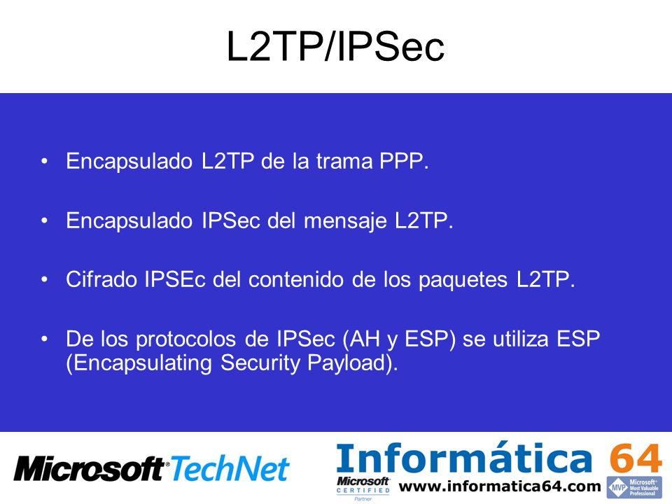 L2TP/IPSec Encapsulado L2TP de la trama PPP.