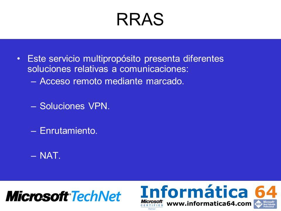 RRAS Este servicio multipropósito presenta diferentes soluciones relativas a comunicaciones: Acceso remoto mediante marcado.