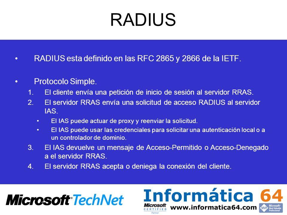 RADIUS RADIUS esta definido en las RFC 2865 y 2866 de la IETF.