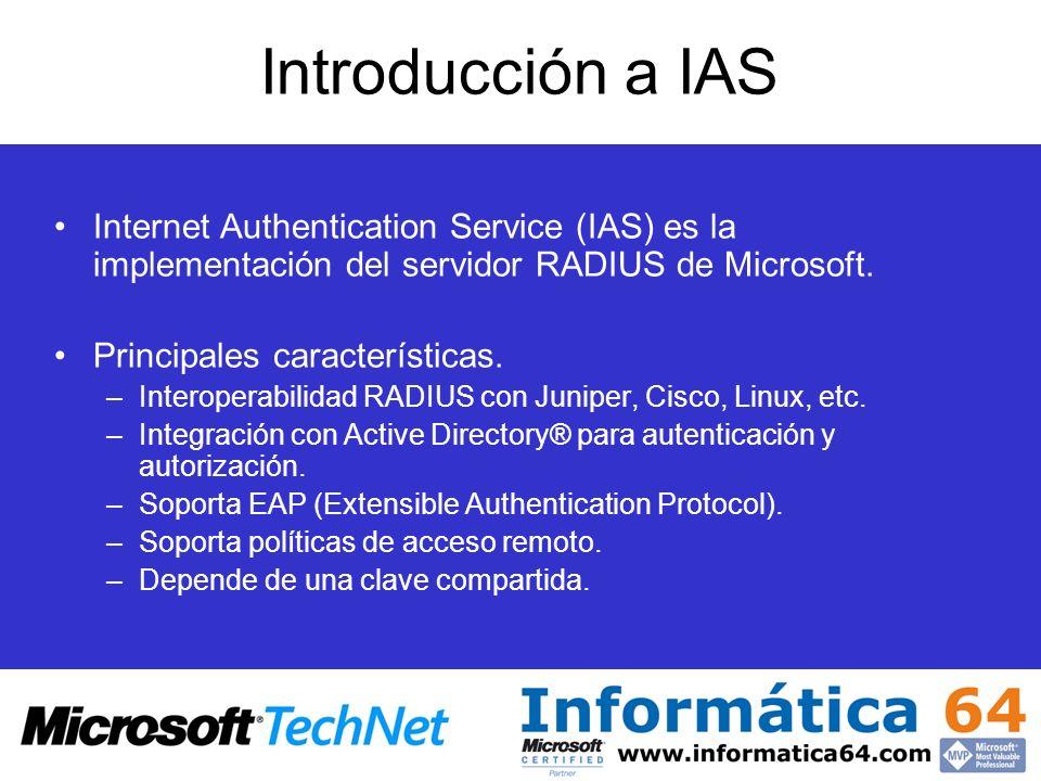 Introducción a IAS Internet Authentication Service (IAS) es la implementación del servidor RADIUS de Microsoft.