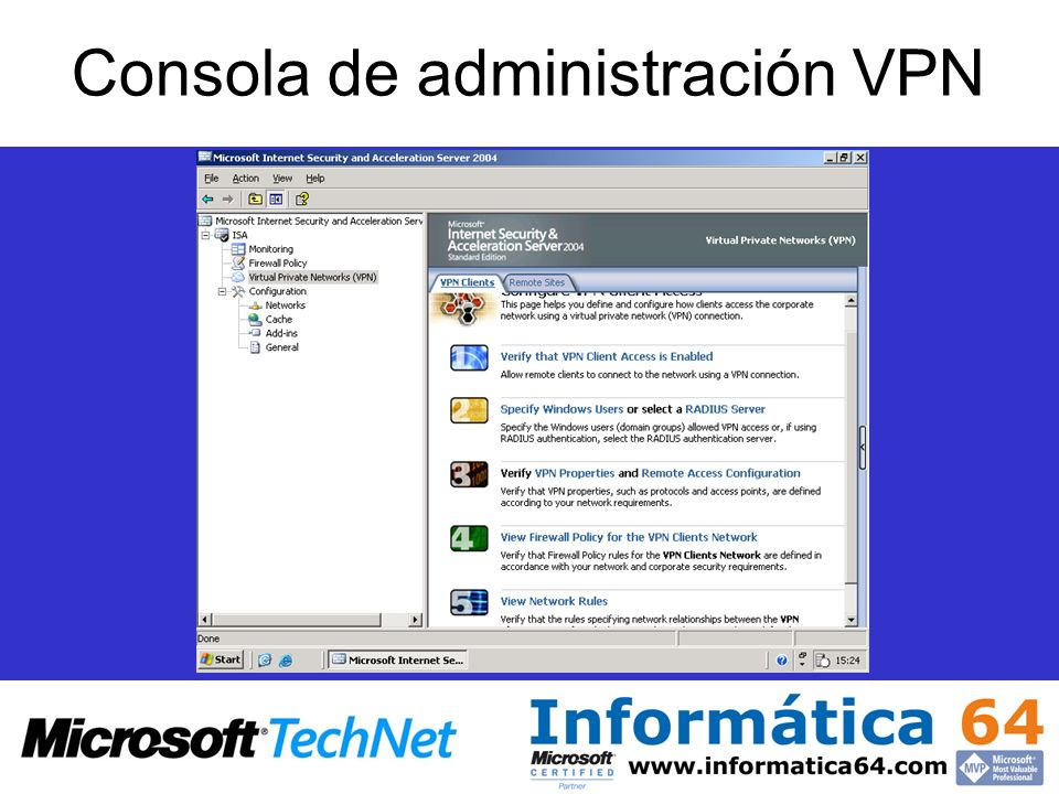 Consola de administración VPN