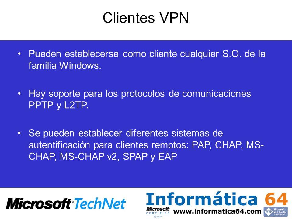Clientes VPN Pueden establecerse como cliente cualquier S.O. de la familia Windows. Hay soporte para los protocolos de comunicaciones PPTP y L2TP.