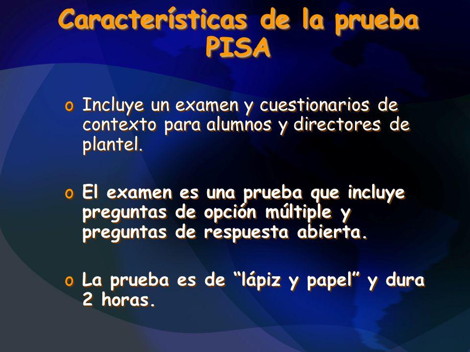 Características de la prueba PISA
