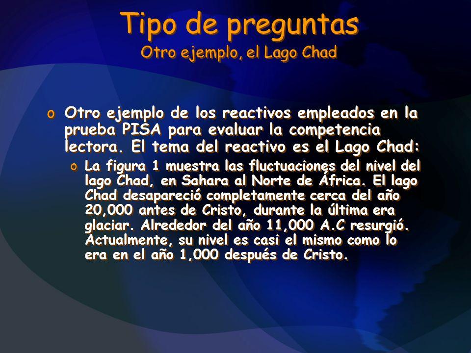 Tipo de preguntas Otro ejemplo, el Lago Chad