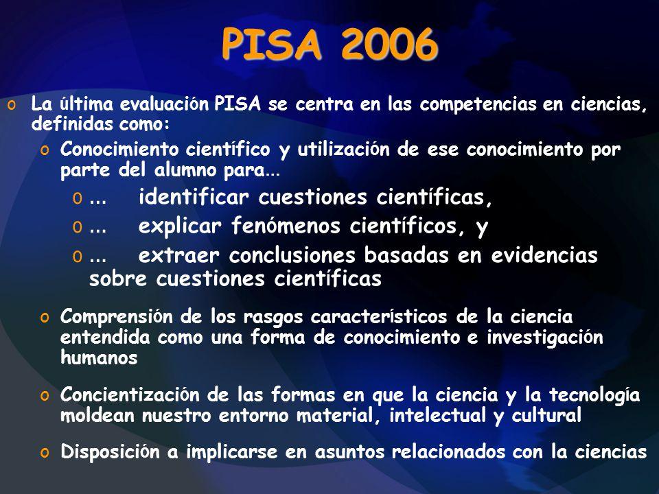 PISA 2006 … identificar cuestiones científicas,