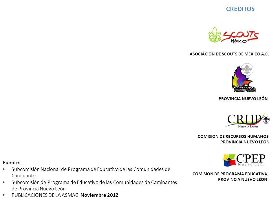 CREDITOS ASOCIACION DE SCOUTS DE MEXICO A.C. PROVINCIA NUEVO LEÓN. COMISION DE RECURSOS HUMANOS. PROVINCIA NUEVO LEON.