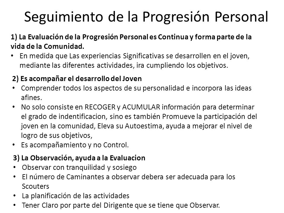 Seguimiento de la Progresión Personal