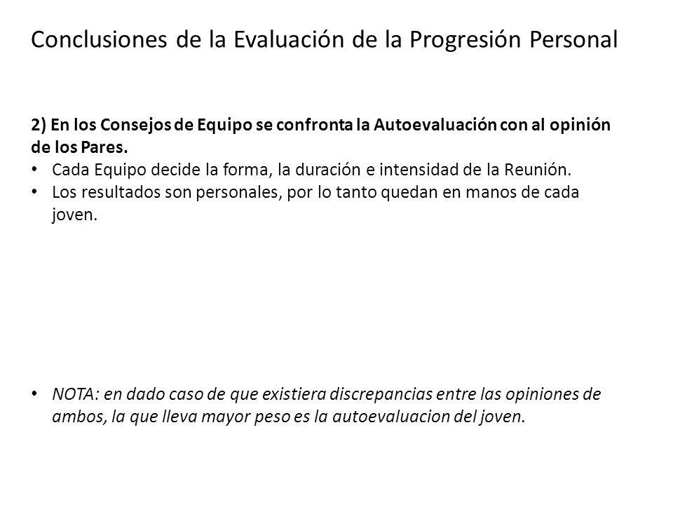 Conclusiones de la Evaluación de la Progresión Personal