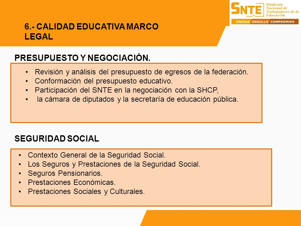 6.- CALIDAD EDUCATIVA MARCO LEGAL