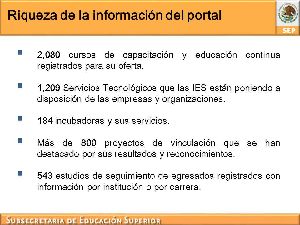 Riqueza de la información del portal