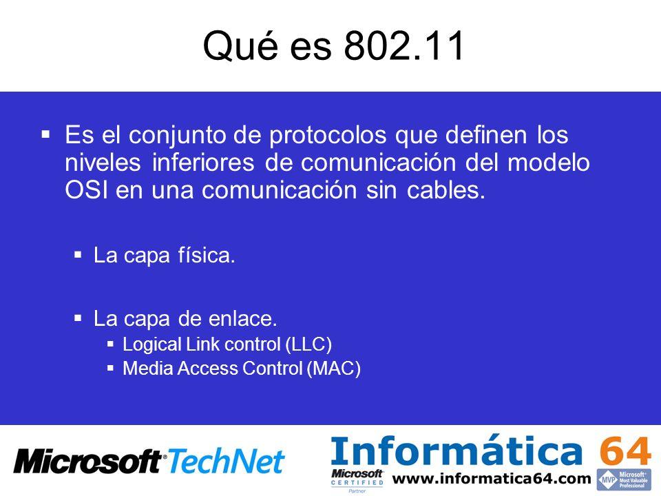 Qué es 802.11Es el conjunto de protocolos que definen los niveles inferiores de comunicación del modelo OSI en una comunicación sin cables.