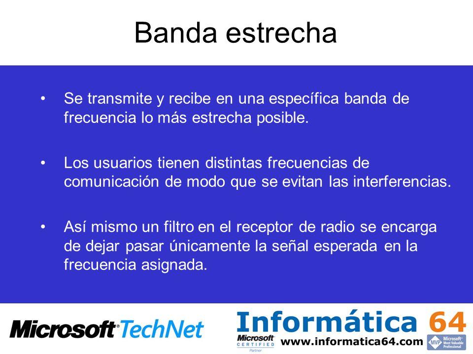 Banda estrecha Se transmite y recibe en una específica banda de frecuencia lo más estrecha posible.
