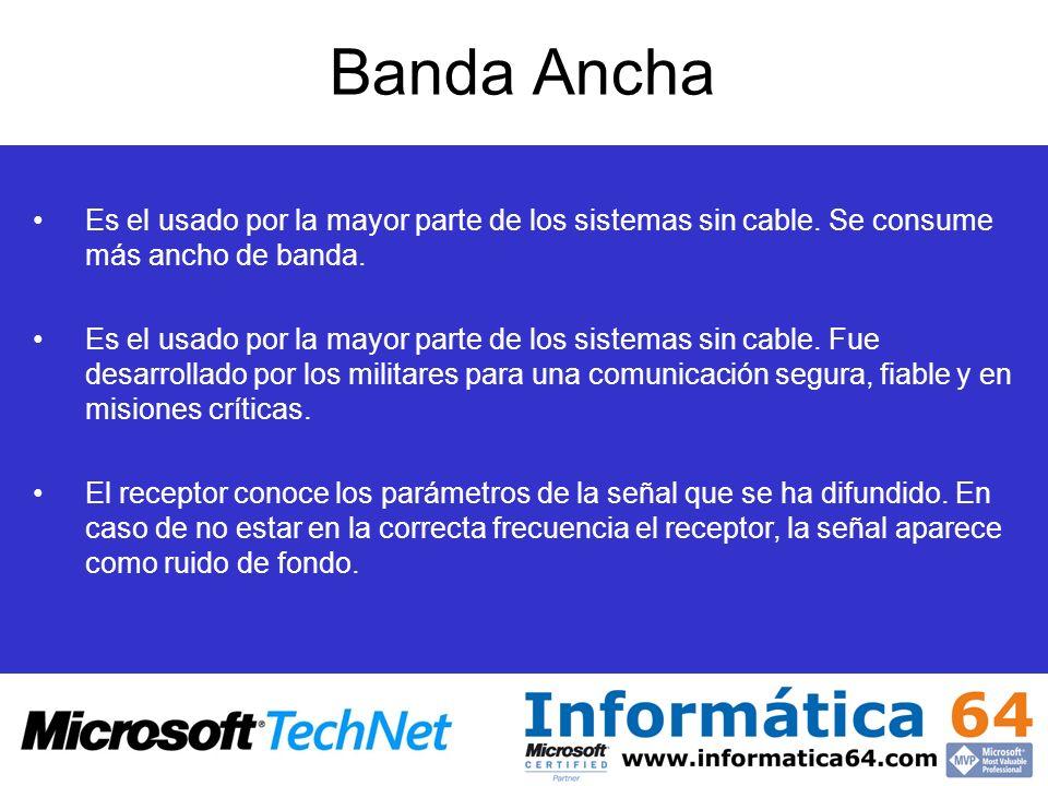 Banda Ancha Es el usado por la mayor parte de los sistemas sin cable. Se consume más ancho de banda.