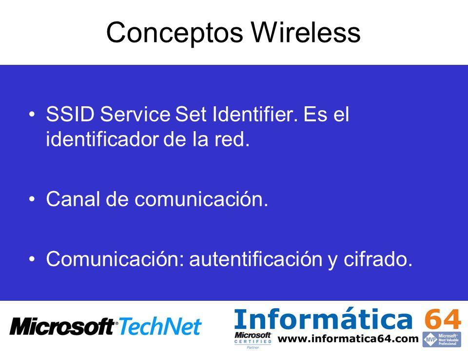 Conceptos Wireless SSID Service Set Identifier. Es el identificador de la red. Canal de comunicación.
