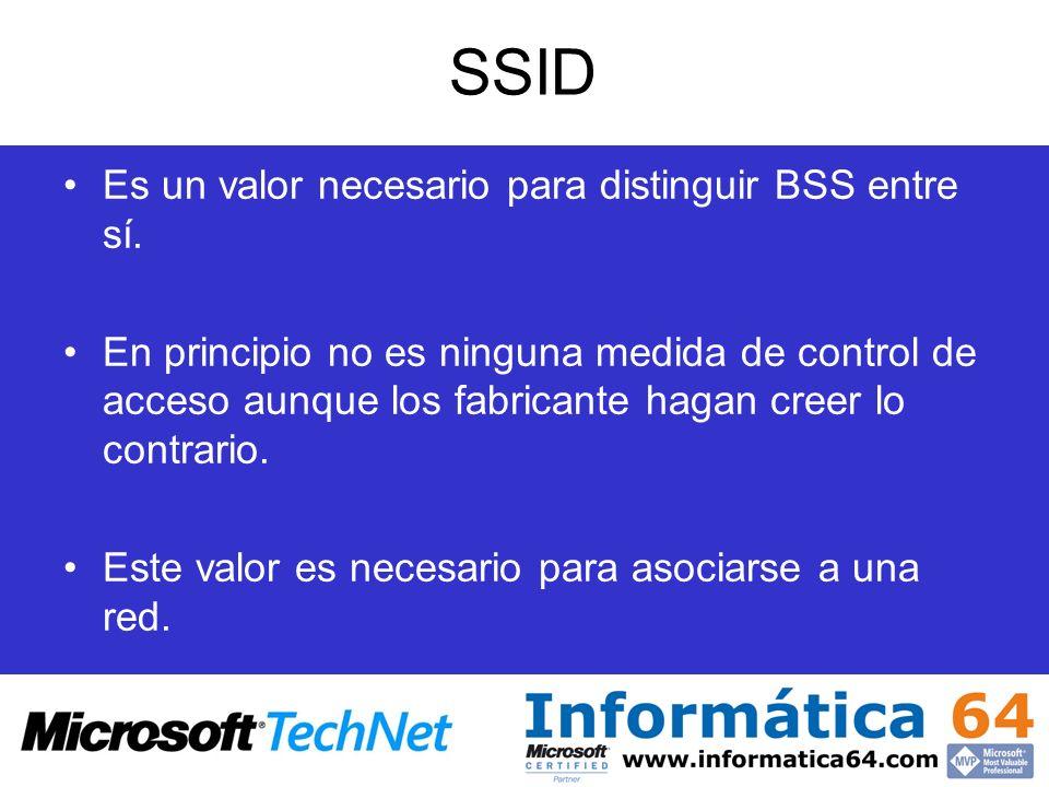 SSID Es un valor necesario para distinguir BSS entre sí.