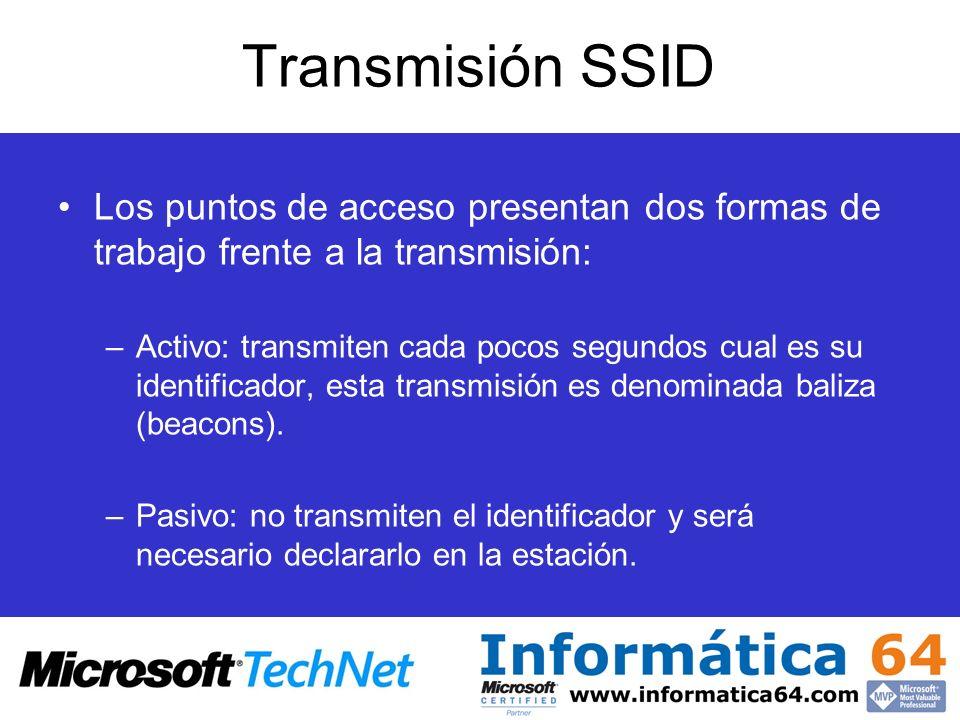 Transmisión SSID Los puntos de acceso presentan dos formas de trabajo frente a la transmisión:
