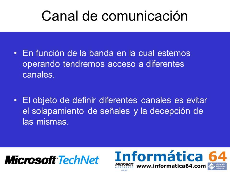 Canal de comunicación En función de la banda en la cual estemos operando tendremos acceso a diferentes canales.
