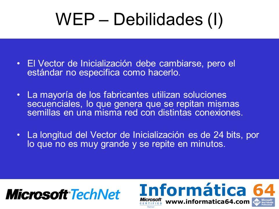 WEP – Debilidades (I)El Vector de Inicialización debe cambiarse, pero el estándar no especifica como hacerlo.
