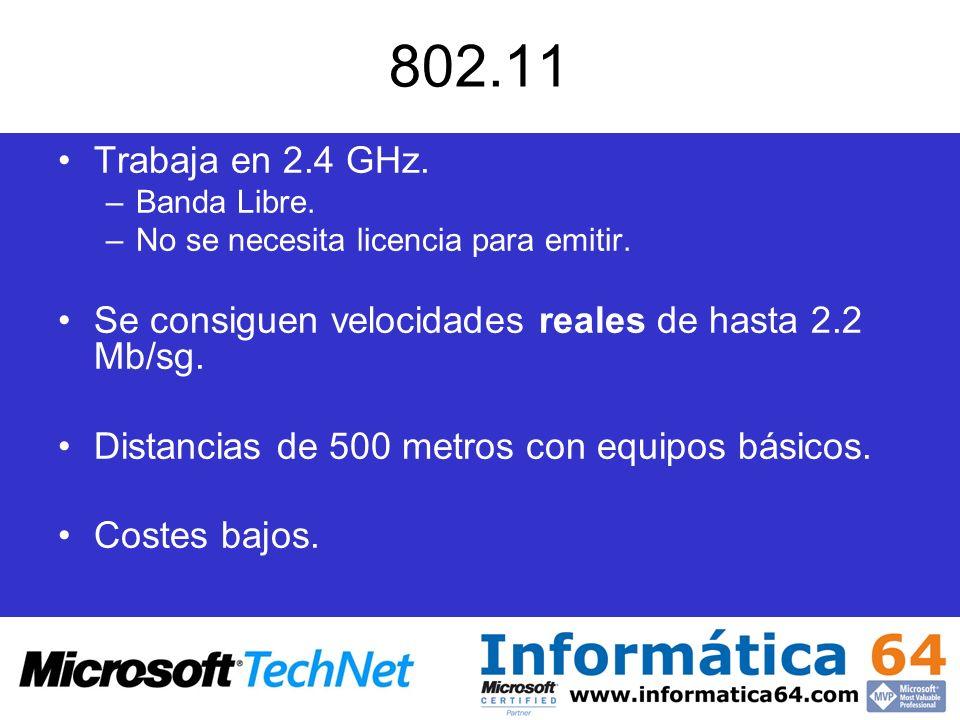 802.11 Trabaja en 2.4 GHz. Banda Libre. No se necesita licencia para emitir. Se consiguen velocidades reales de hasta 2.2 Mb/sg.
