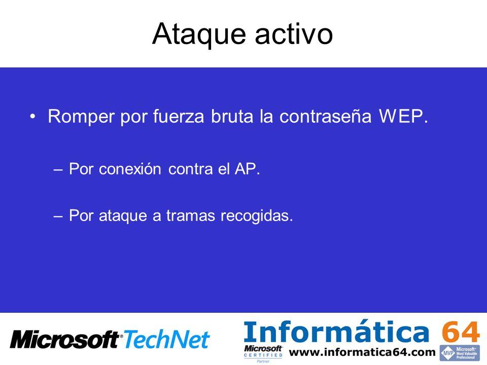 Ataque activo Romper por fuerza bruta la contraseña WEP.