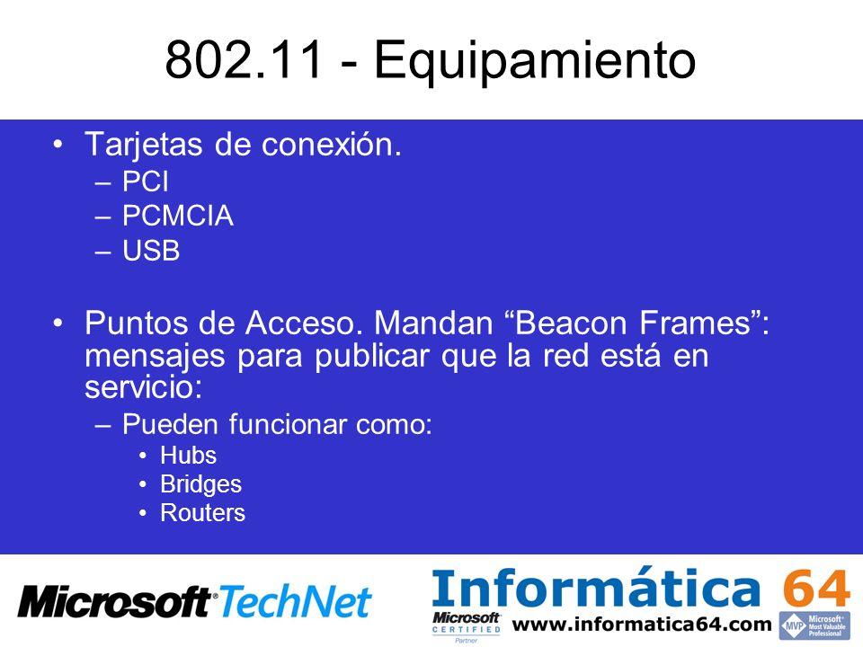 802.11 - Equipamiento Tarjetas de conexión.