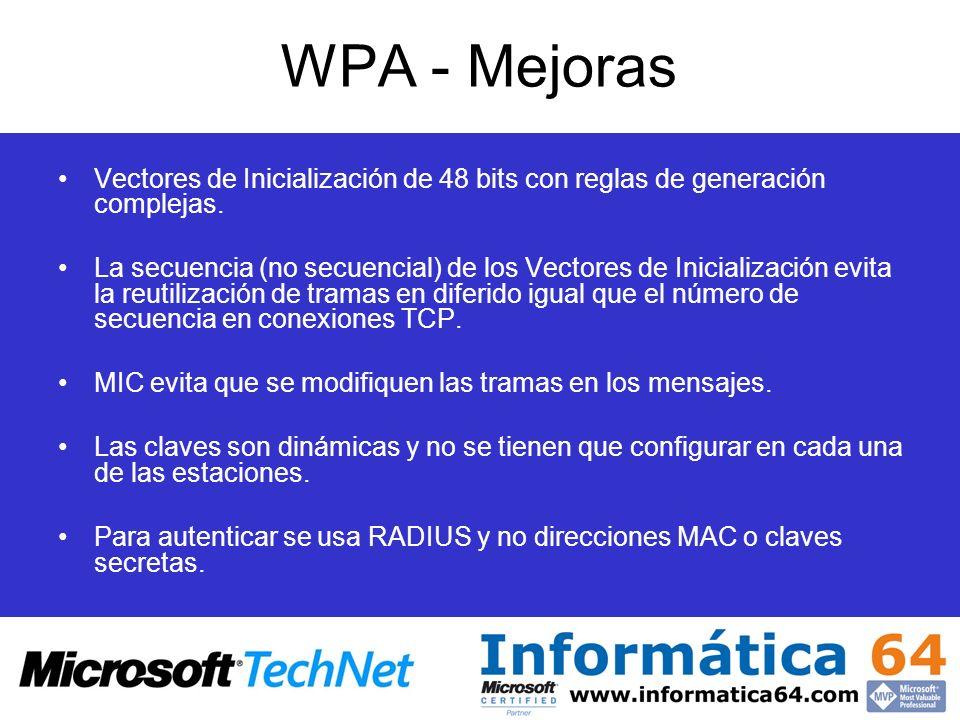 WPA - Mejoras Vectores de Inicialización de 48 bits con reglas de generación complejas.