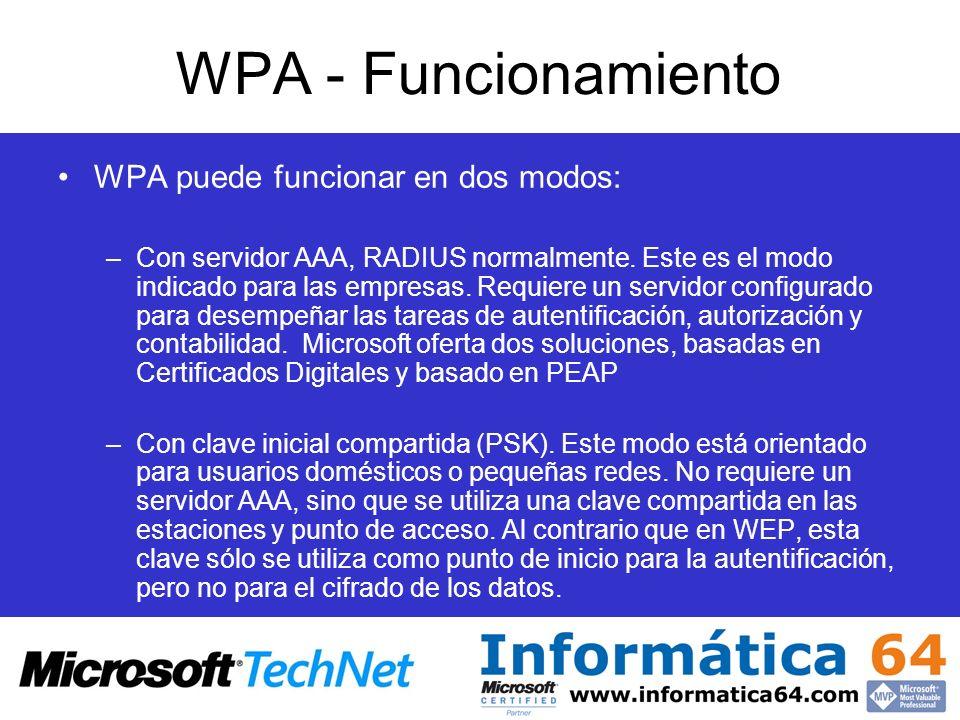 WPA - Funcionamiento WPA puede funcionar en dos modos: