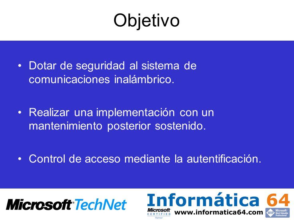 Objetivo Dotar de seguridad al sistema de comunicaciones inalámbrico.