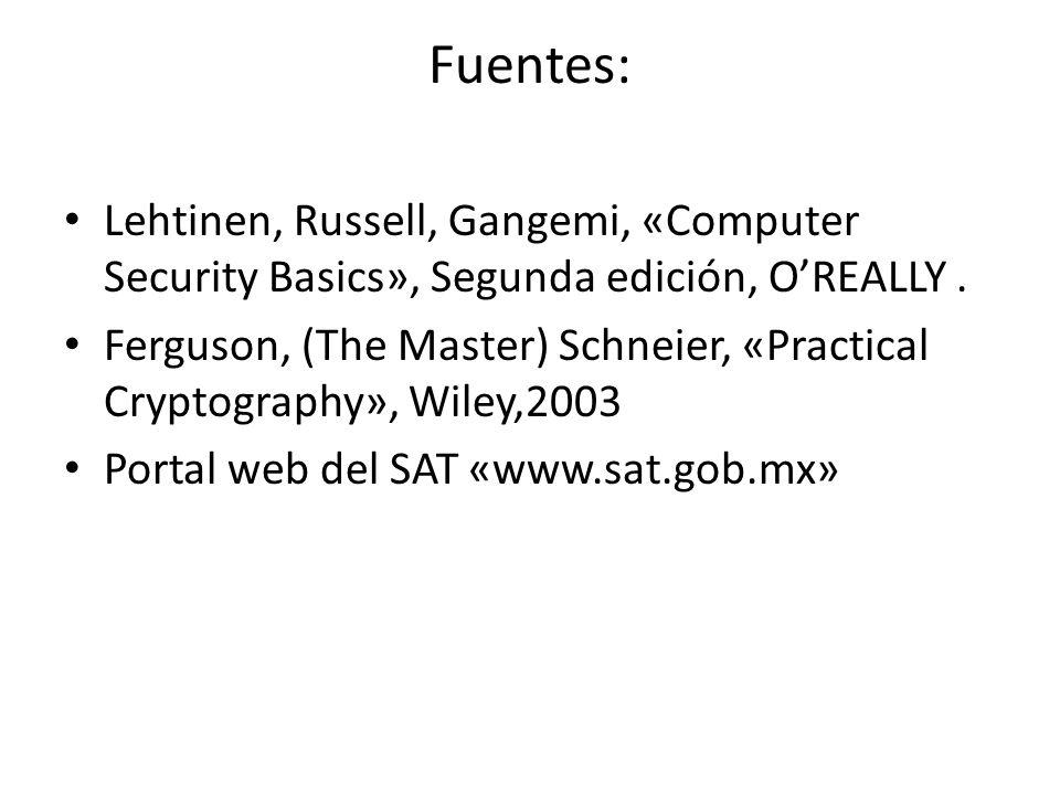 Fuentes: Lehtinen, Russell, Gangemi, «Computer Security Basics», Segunda edición, O'REALLY .