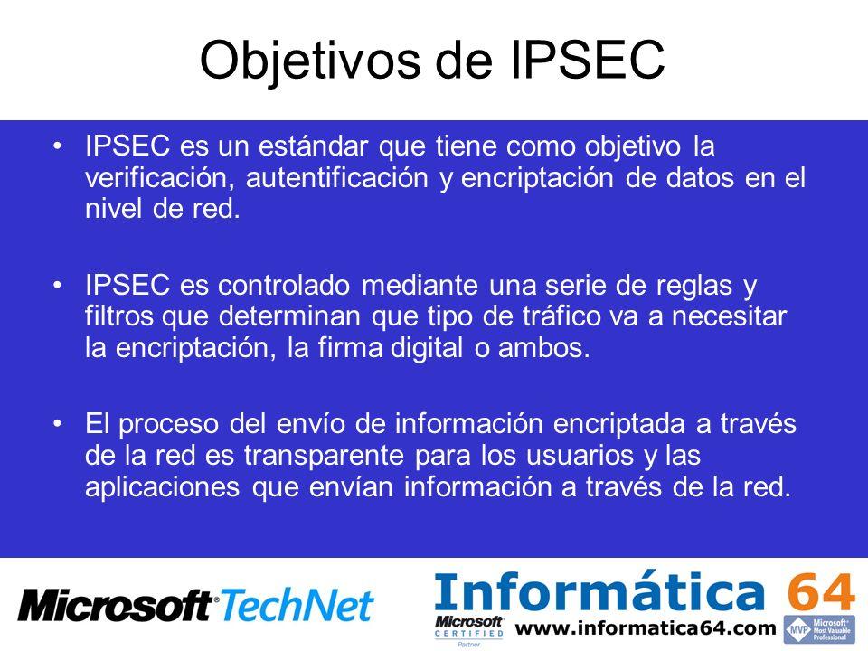 Objetivos de IPSECIPSEC es un estándar que tiene como objetivo la verificación, autentificación y encriptación de datos en el nivel de red.