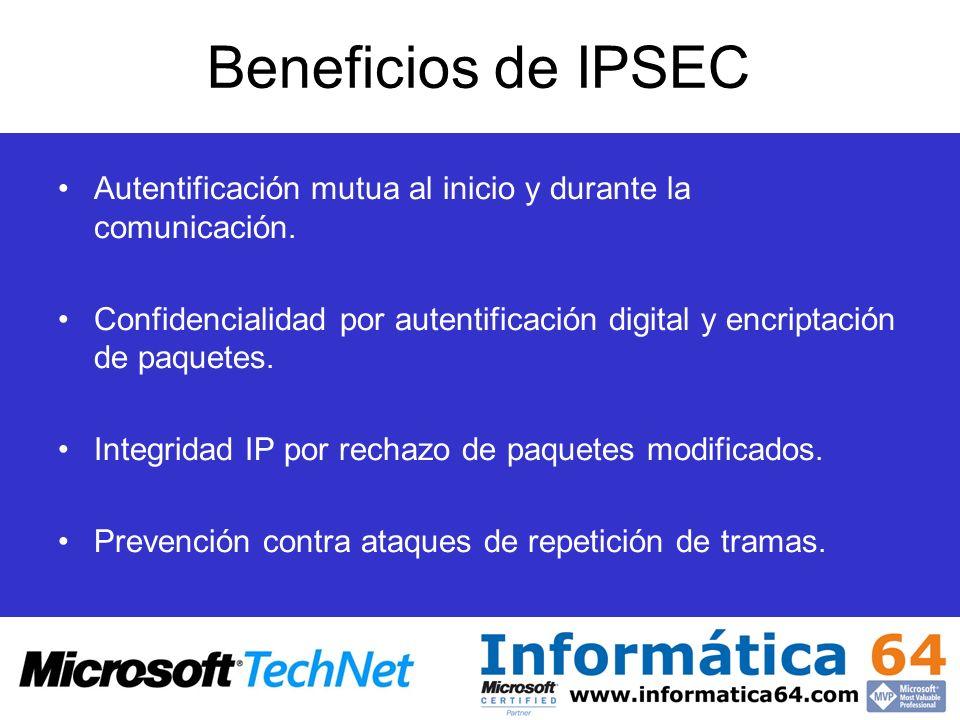 Beneficios de IPSECAutentificación mutua al inicio y durante la comunicación.