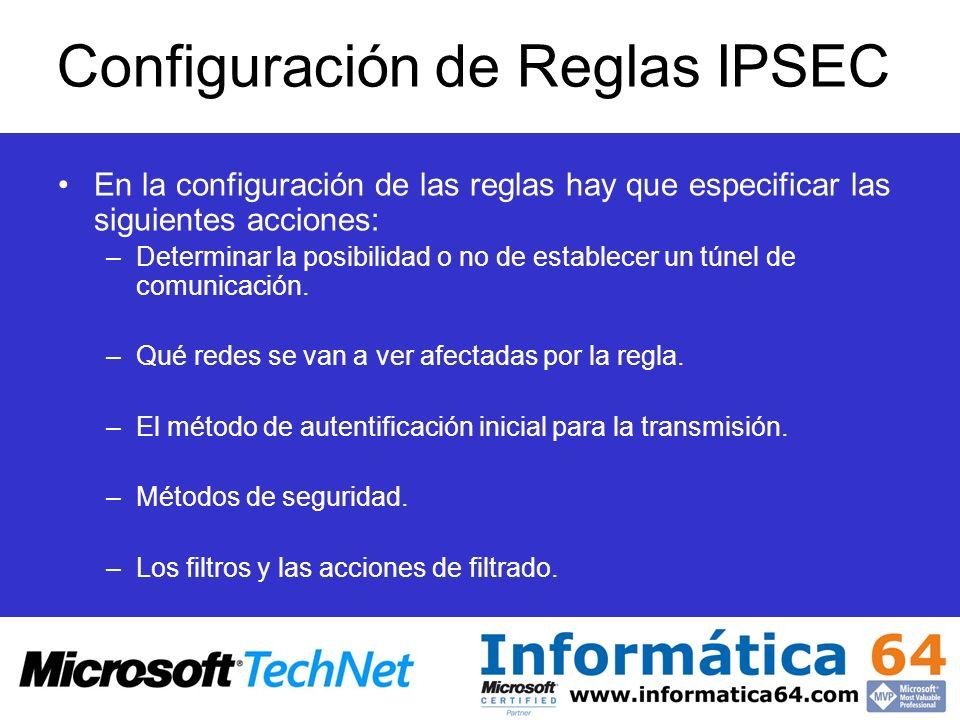 Configuración de Reglas IPSEC