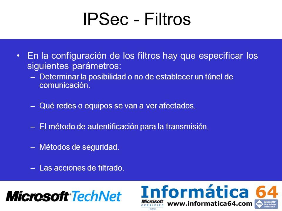 IPSec - Filtros En la configuración de los filtros hay que especificar los siguientes parámetros: