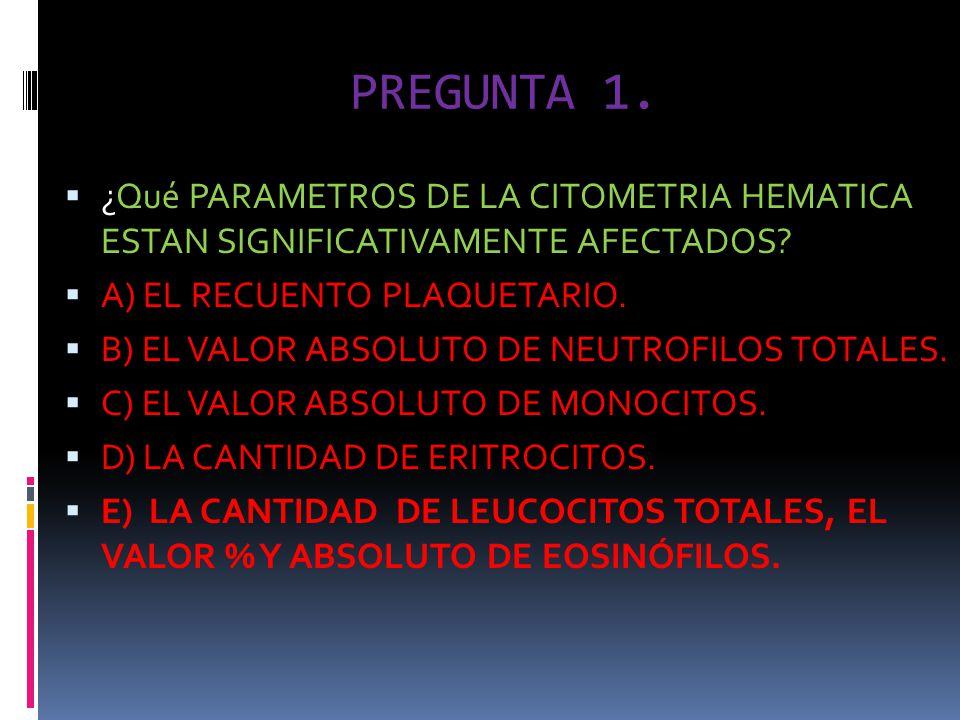 PREGUNTA 1. ¿Qué PARAMETROS DE LA CITOMETRIA HEMATICA ESTAN SIGNIFICATIVAMENTE AFECTADOS A) EL RECUENTO PLAQUETARIO.