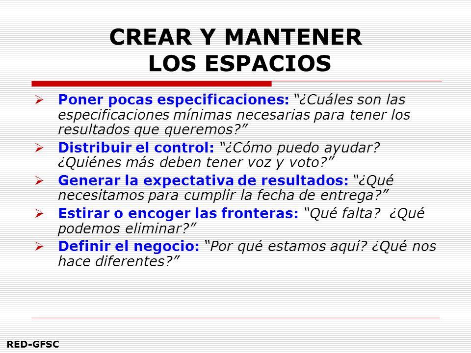 CREAR Y MANTENER LOS ESPACIOS