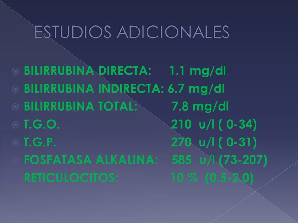 ESTUDIOS ADICIONALES BILIRRUBINA DIRECTA: 1.1 mg/dl