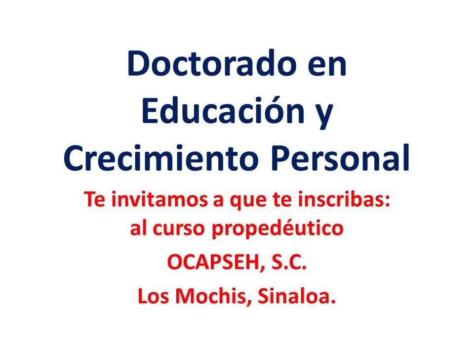 Doctorado en Educación y Crecimiento Personal