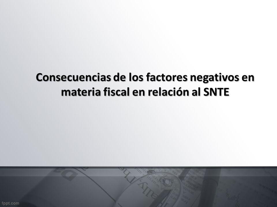 Consecuencias de los factores negativos en materia fiscal en relación al SNTE