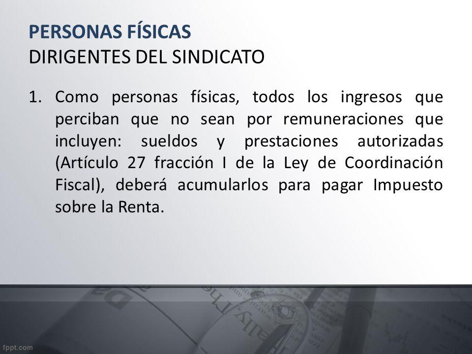 PERSONAS FÍSICAS DIRIGENTES DEL SINDICATO