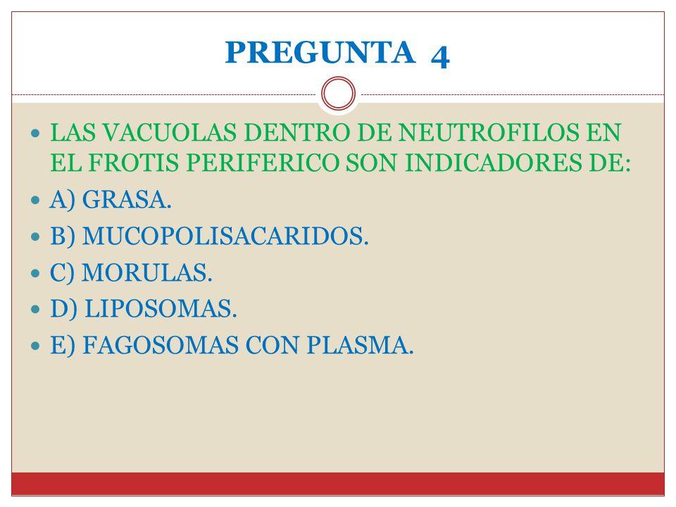 PREGUNTA 4 LAS VACUOLAS DENTRO DE NEUTROFILOS EN EL FROTIS PERIFERICO SON INDICADORES DE: A) GRASA.