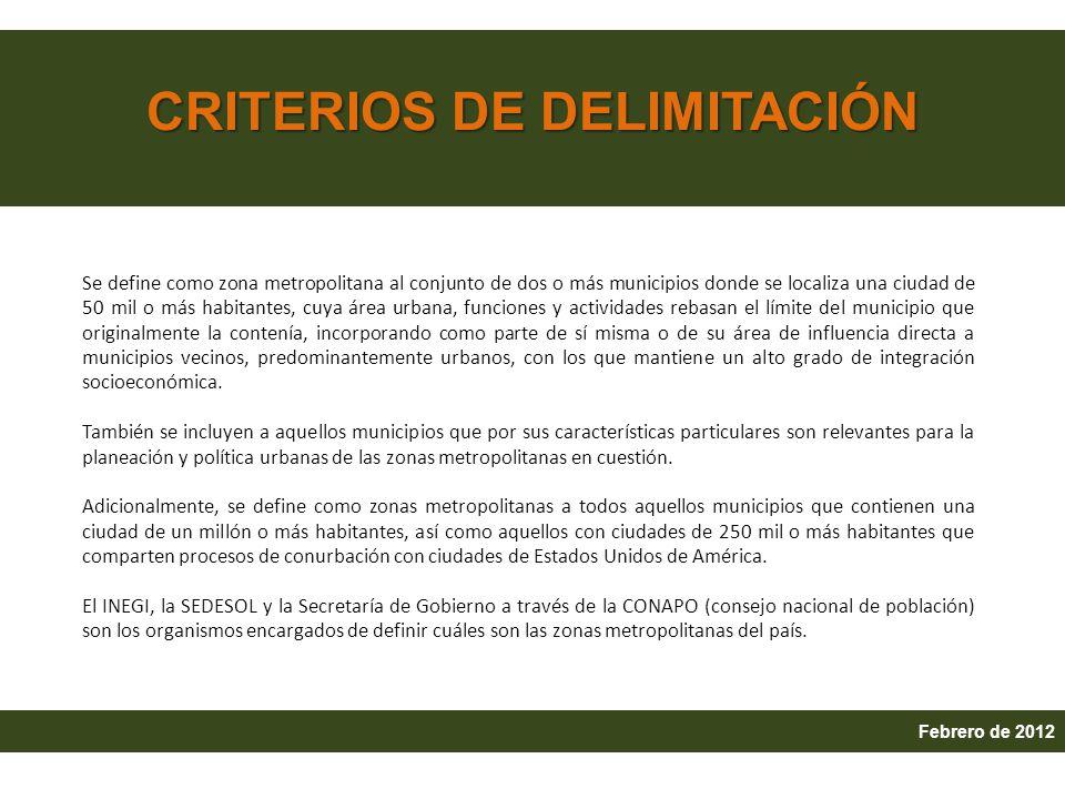 CRITERIOS DE DELIMITACIÓN