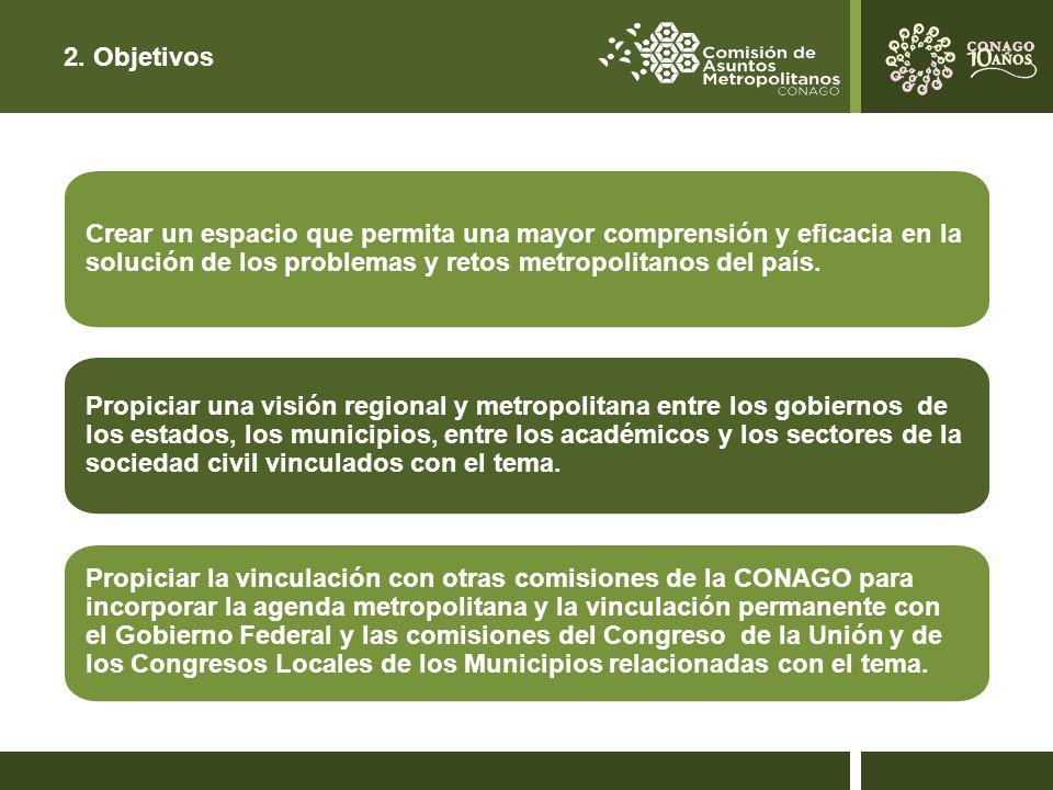 2. Objetivos Crear un espacio que permita una mayor comprensión y eficacia en la solución de los problemas y retos metropolitanos del país.