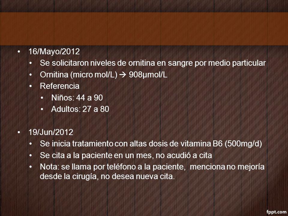 16/Mayo/2012 Se solicitaron niveles de ornitina en sangre por medio particular. Ornitina (micro mol/L)  908µmol/L.