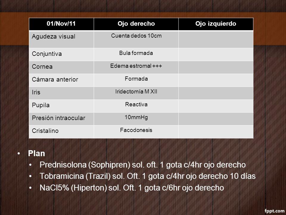 Prednisolona (Sophipren) sol. oft. 1 gota c/4hr ojo derecho